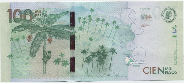 Colombia money currency 100000 Pesos banknote 2016 landscape Cocora Valley located in the Andes by the Quindío River