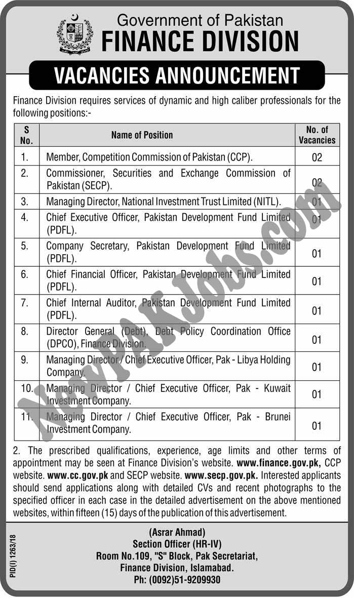 Finance Division Govt of Pakistan, Latest Jobs September 2018