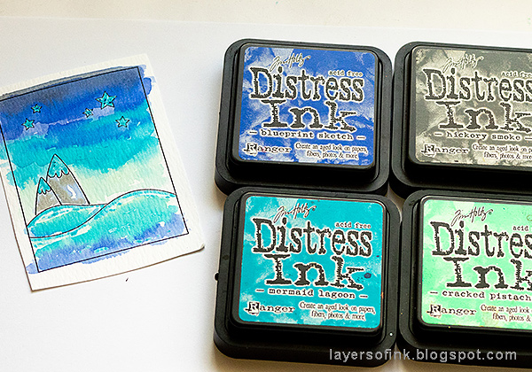 Layers of ink - Dimensional Winter Scene in an Altered Tin Tutorial by Anna-Karin Evaldsson, watercolor with Distress Ink.