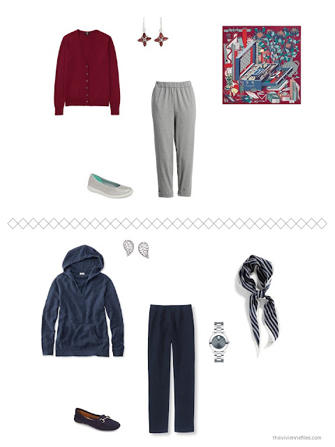 2 outfits from a capsule wardrobe in navy and grey with red and teal accents