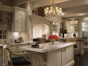 Stunning Clive S Kitchen Decked Out In A Pair Of Crystal Chandeliers