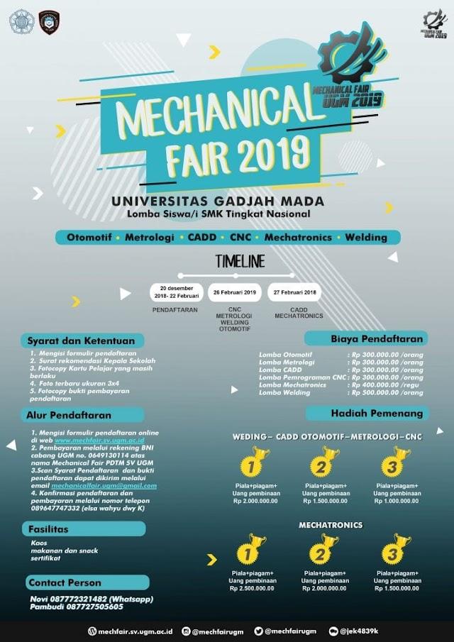 Lomba Keterampilan Siswa SMK Mechanical Fair UGM 2019