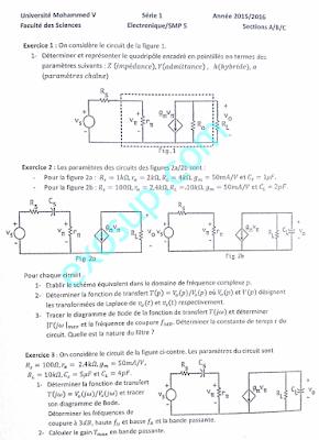 exercices corrigés TD corrigés électronique analogique smp5 FS Rabat