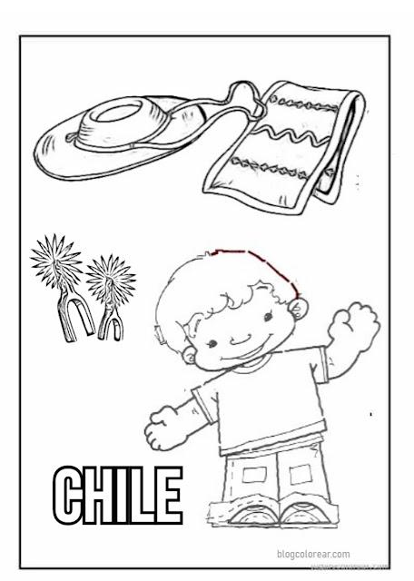 Chile colorear dibujos fiesta patrias, Snoopy huaso y otros