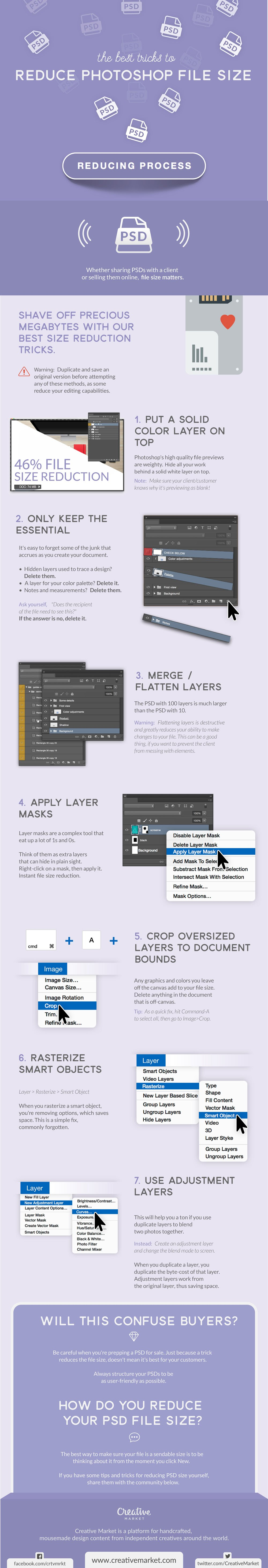 The Best Tricks to Reduce Photoshop File Size - #infographic