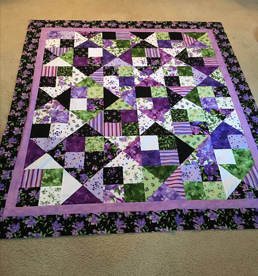 Alter Ego Quilt made by Kae Harrison using Catalina Ultra Violet Fabrics from Maywood Studios, The Free Tutorial designed by Jenny of Missouri Quilt Co