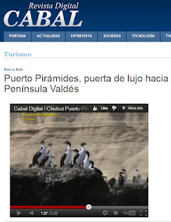 Puerto Pirámides, una nota y un Video en Revista Cabal