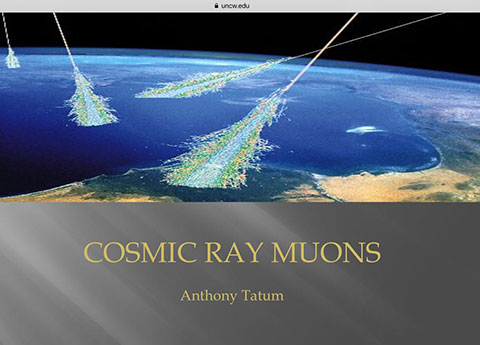 Illustration of cosmic ray muon showers (Source: Anthony Tatum, www.uncw.edu)