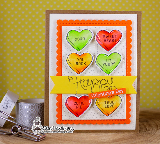 Valentine Card by Ellen Haxelmans | Candy Heart Stamp Set and Die Set by Newton's Nook Designs #newtonsnook #handmade