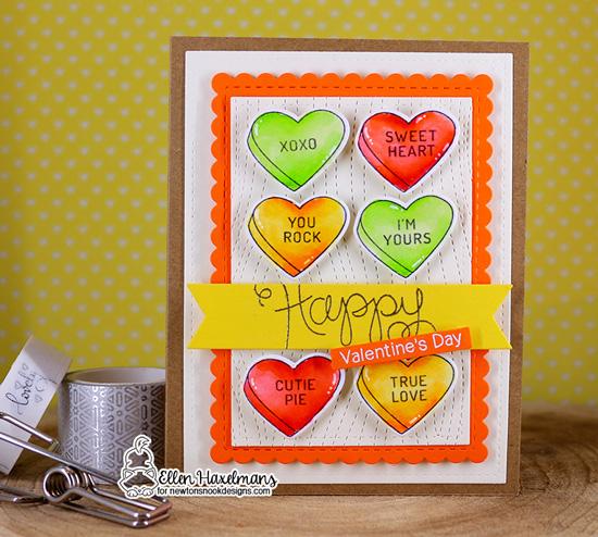 Valentine Card by Ellen Haxelmans | Candy Heart Stamp Set and Die Set by Newton's Nook Designs #newtonsnook #handmade