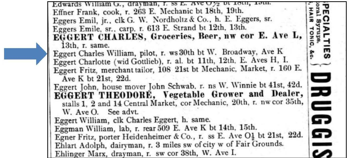 Ancestorpuzzles william c eggert pilot and ship captain 1886 galveston city directory aiddatafo Choice Image