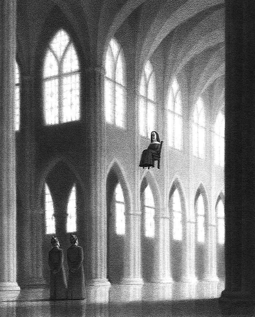 a Chris Van Allsburg illustration of a seated floating nun in a cathedral