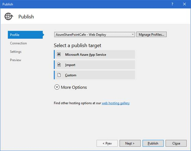 Publish web app using visual studio