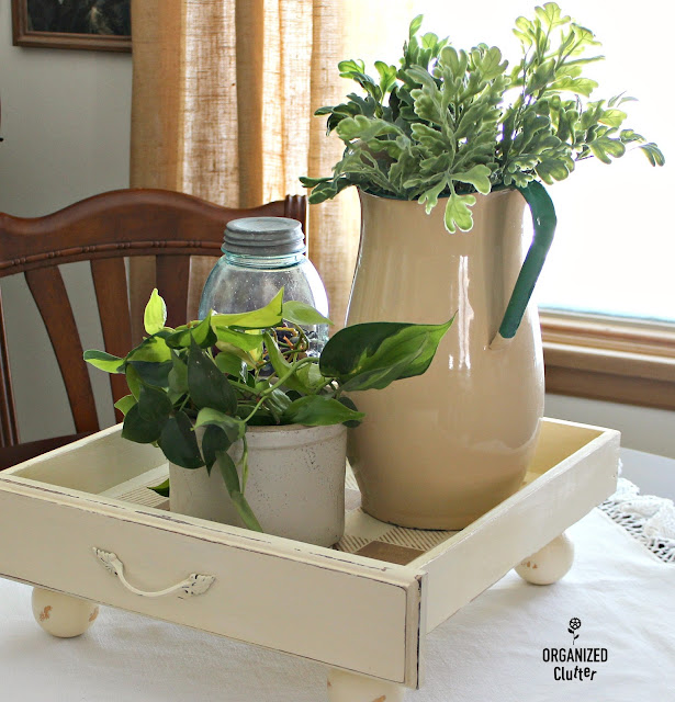 Repurposed Drawer House Plant Tray #repurpose #drawerrepurpose #stencil #buffalocheck #oldsignstencils #houseplants