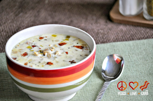 Slow Cooker Low Carb Clam Chowder with Bacon - Gluten Free | Peace Love and Low Carb