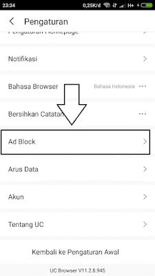 mengaktifkan adblock di uc browser agar tidak ada iklan