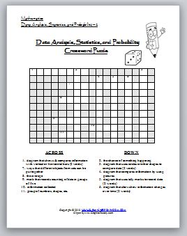 Data Analysis and Probability Word Search and Crossword