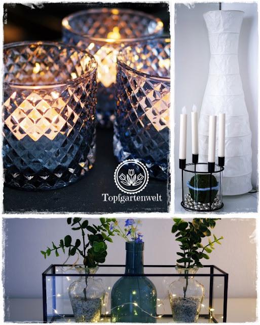 Gartenblog Topfgartenwelt Deko: Deko Dekoration nach Weihnachten in blau silber weiß und grün