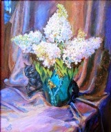 original oil painting on canvas White Flowers and Black Cat