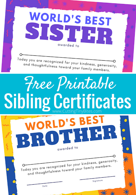Print one of these bright and colorful sibling certificates to award your to children when they're caught being a World's Best Sister or Brother! Reward good behavior with this positive parenting strategy.