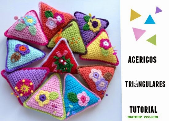 Acerico-alfiletero triangular en crochet tutorial