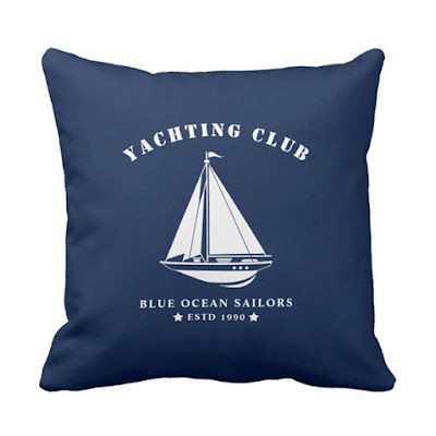 Nautical Pillow - Navy Blue and White - Sailing Badge