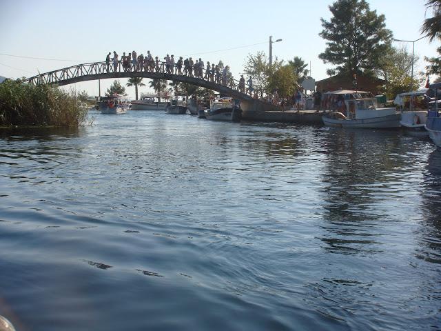 Akyaka, Azmak turu esnasında altından geçtiğimiz köprü ve üzerinde atlamak için bekleyen insanlar.