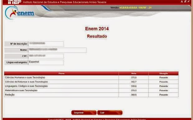 Resultado do Enem 2014