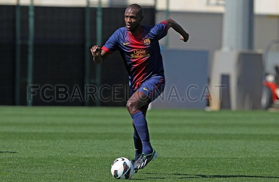 Éric Abidal is seen playing in a friendly game with Barcelona B against Istres
