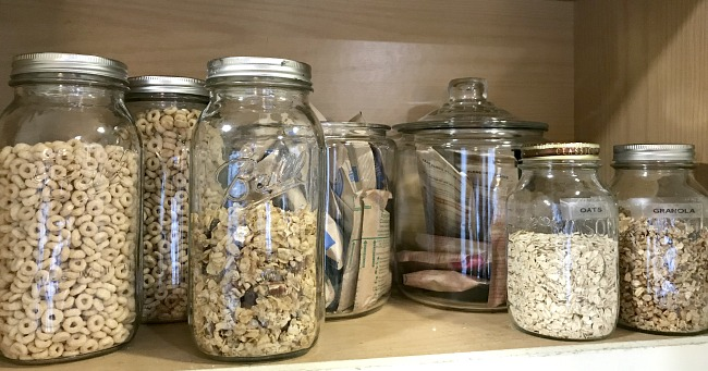 organizing my kitchen cabinets with jars!