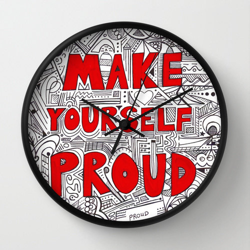 "Quote ""Make Yourself Proud"" Wall Clock in Red"