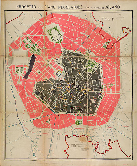 the Beruto Plan, Milan's first city plan - an old paper edition - showing the route for Milan's External Ring Road