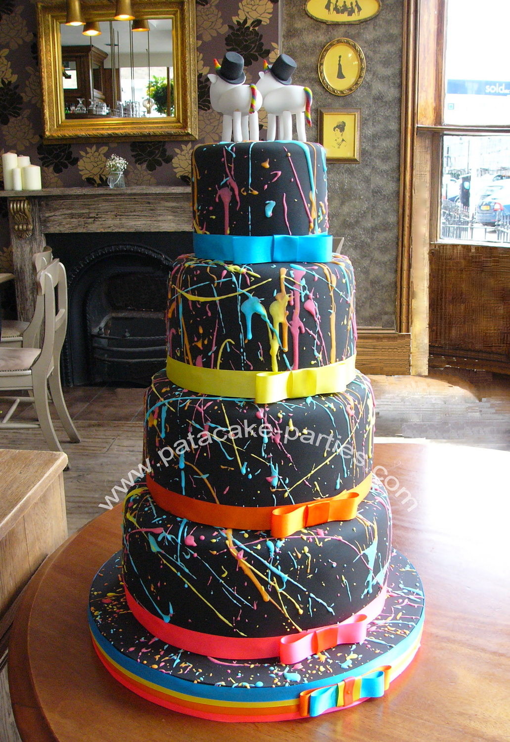 I Probably Had Far Too Much Fun Decorating Chris Carl S Colourful Wedding Cake Rainbow Sponge Covered With Black Sugarpaste And A Riot Of Colour In Royal