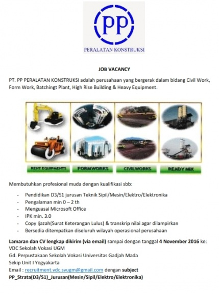 Lowongan kerja pt pp peralatan konstruksi hingga 4 november 2016