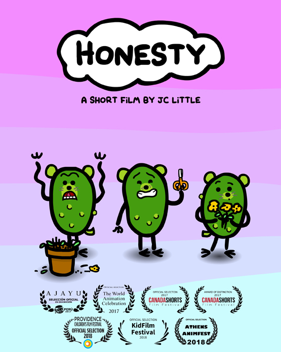 Poster for the short film HONESTY, with PickleWeasel, and festival laurels.