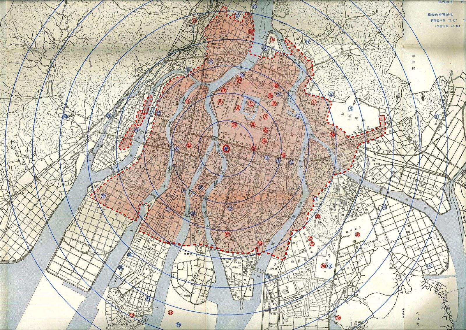 1km, 1.5km, 2.0km, 2.5km, 3.0km, 3.5km,  4.0kmの各500mの範囲の距離を示した。赤丸◯は軍隊諸部隊と青丸◯は救急救護所の配置である。(広島原爆医療史、1961年)