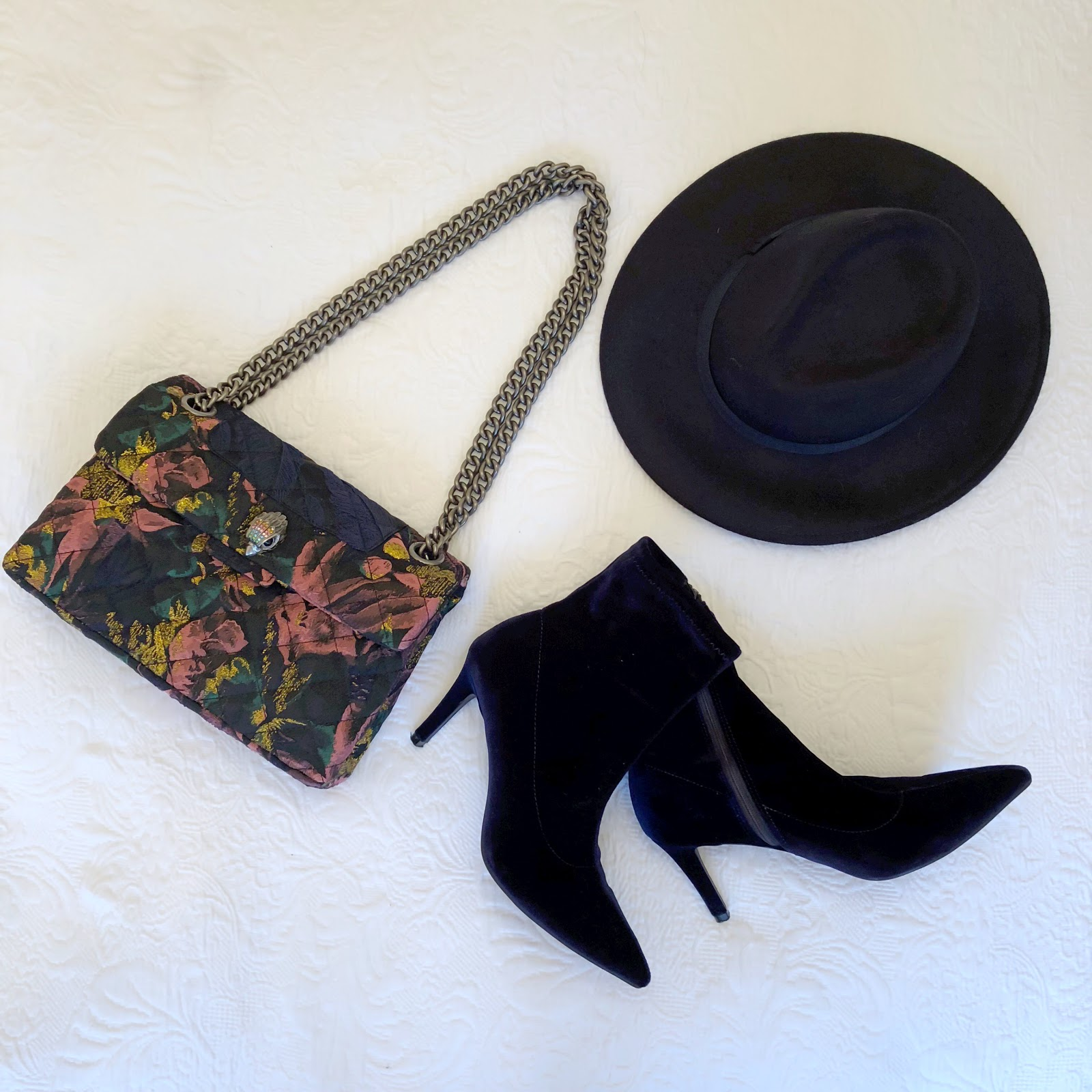 my midlife fashion, kurt geiger kensington fabric bag, marks and spencer side zip stiletto heel ankle boots, hobb felt fedora hat
