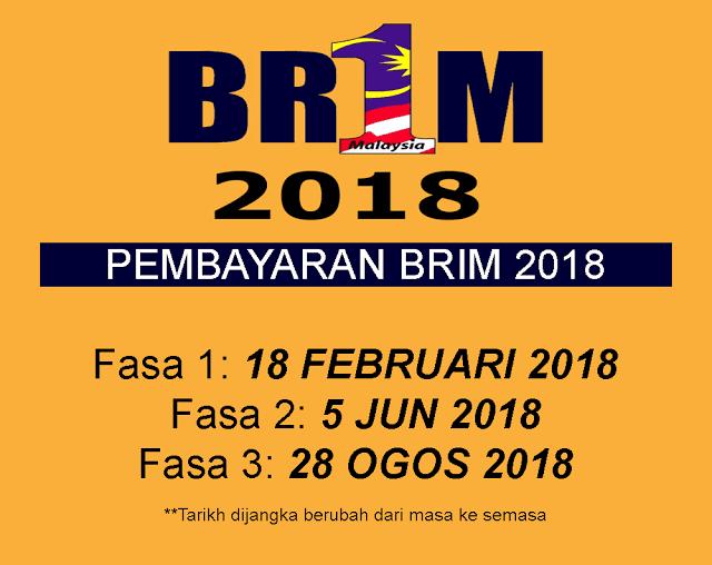 tarikh duit BR1M masuk akaun - 18 Februari 2018 (Ahad)