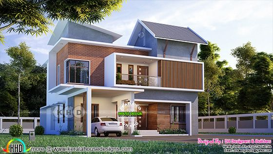 2964 sq-ft house plan in 5 bedroom mixed roof house