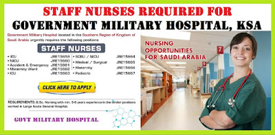 STAFF NURSES REQUIRED FOR GOVERNMENT MILITARY HOSPITAL KSA- JERRY VARGHESE
