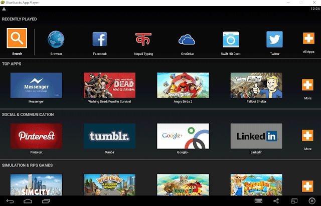 BlueStacks Home Screen