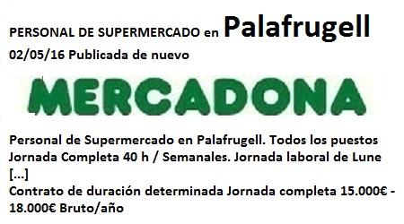 Lanzadera de Empleo Virtual Girona, Oferta Mercadona Palafrugell