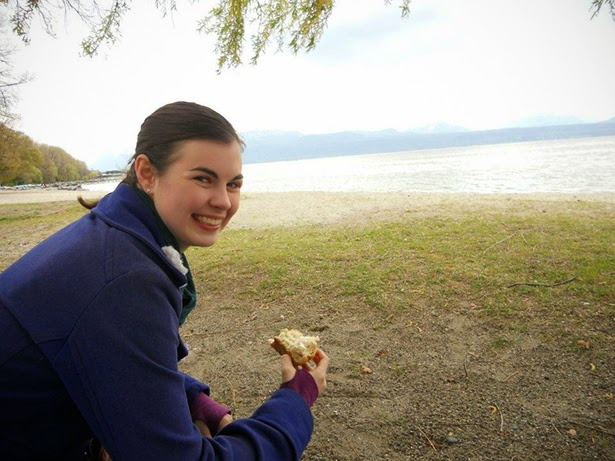 Having a picnic on the shores of Lake Geneva in Lausanne, Switzerland