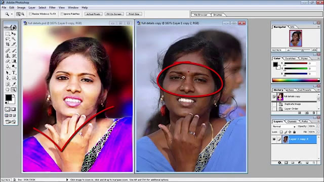 photoshop, hindi retouching, lips ayes hair