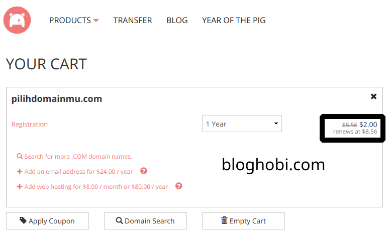 Beli Domain .COM hanya $2, Promo Bulan April 2019