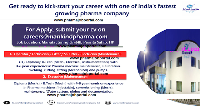 Mankind Pharma Urgent Vacancy For  Multiple Positions  - Apply Here