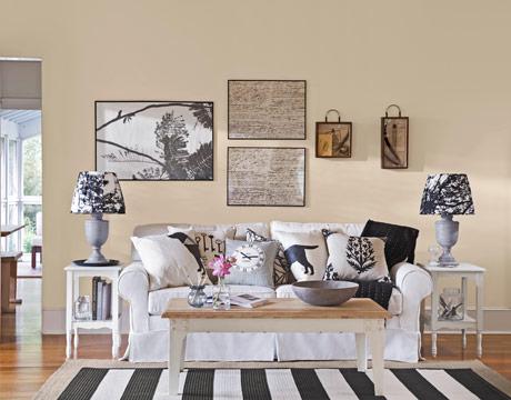 Falls design cream white black natural wood stunning - Black and cream living room decor ...