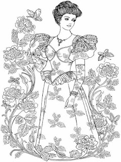lady flower in valentines party adult coloring pages