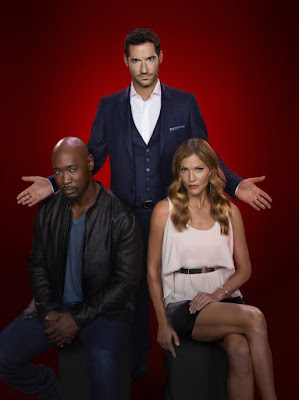 Tom Ellis, D.B. Woodside and Tricia Helfer in Lucifer Season 2