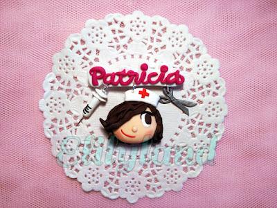 Colgante Llavero Broche Fimo Arcilla Enfermera Nombre Personalizado Nurse